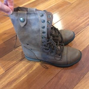 Mossimo Supply Co. Shoes - Brown and Knitted Lace Up Boots